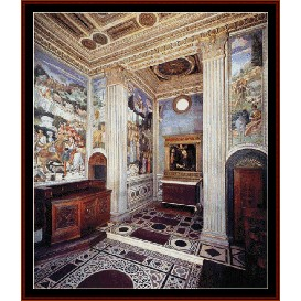 view of the chapel - gozzoli cross stitch pattern by cross stitch collectibles