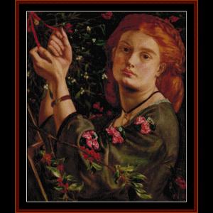 Hanging Mistletoe - Dante Rossetti cross stitch pattern by Cross Stitch Collectibles | Crafting | Cross-Stitch | Wall Hangings