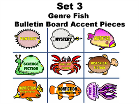 set 3:  genre reading fish bulletin board accent pieces