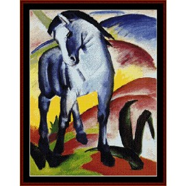 blue horse i - franz marc cross stitch pattern by cross stitch collectibles