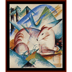 red deer - franz marc cross stitch pattern by cross stitch collectibles