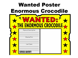 wanted poster enormous crocodile