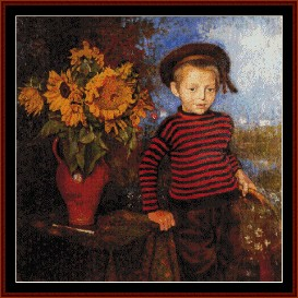 boy with sunflowers - lemmen cross stitch pattern by cross stitch collectibles