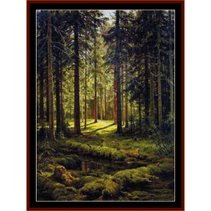 coniferous forest - shishkin cross stitch pattern by cross stitch collectibles