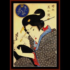 ukiyo-e 6 - asian art cross stitch pattern by cross stitch collectibles