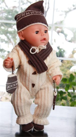 dollknittingpattern 0038d anna sofie - outdoor suit - cap - gloves - scarf