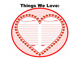 things that we love - valentine's day creative writing set