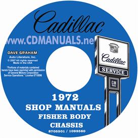 1972 cadillac shop manual & body manual - all models