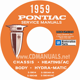 1959 pontiac repair manual with body, a/c, & hydra-matic