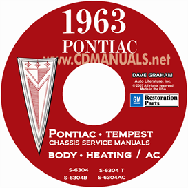 1963 pontiac shop manual with body & air conditioning manuals -