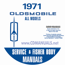 1971 oldsmobile shop manual & body manual- all models