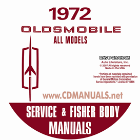 1972 oldsmobile shop manual & body manual-all models