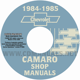 1984-1985 chevrolet camaro shop manuals
