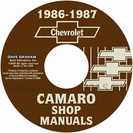 1986-1987 chevrolet camaro shop manuals