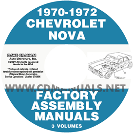 1970-1972 chevrolet chevy ii nova factory assembly manuals