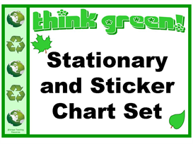 think green stationery and sticker chart set