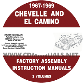 1967-1969 chevelle factory assembly manual with el camino, monte