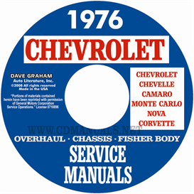 1976 chevy shop, overhaul, & body manuals- all models