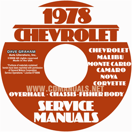 1978 chevy car service , overhaul, & body manuals