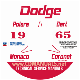 1965 dodge service shop manual - all models