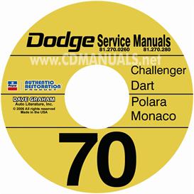 1970 dodge service manuals challenger, dart, polara, monaco