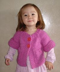 #72 child's top-down short-sleeved cardigan pdf knitting pattern from