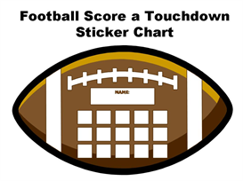 football score a touchdown sticker chart set