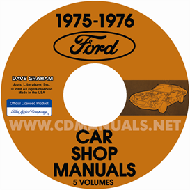 1975-1976 ford, lincoln, & mercury car shop manual original 5 vo