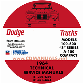 1964 dodge truck & 1964-1965 van shop manual - all models