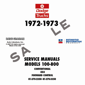 1972-1973 dodge 100-800 truck shop manual - all models