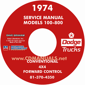 1974 dodge pickup & truck shop manual - all models
