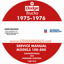 1975-1976 dodge pickup & truck shop manual - all models