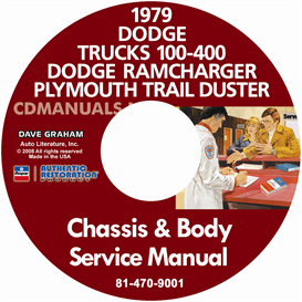 1979 dodge 100-400 pickup truck, ramcharger & trail duster servi
