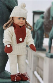 dollknittingpattern 0040d kirsten - sweater, hat, ski pants, shoes, gloves