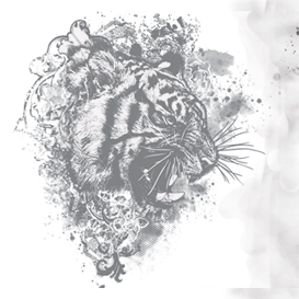 tiger floral vector illustration