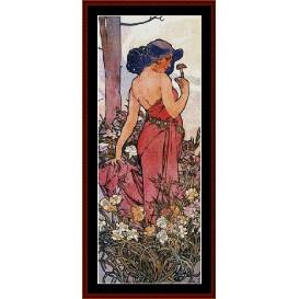 Carnations - Mucha cross stitch pattern by Cross Stitch Collectibles | Crafting | Cross-Stitch | Wall Hangings