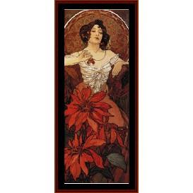 ruby - mucha cross stitch pattern by cross stitch collectibles