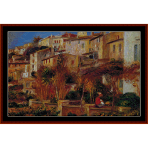 terrace at cagnes 1905 - renoir cross stitch pattern by cross stitch collectibles