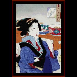 ukiyoe 7 - asian art cross stitch pattern by cross stitch collectibles