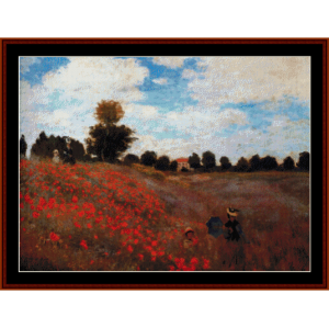poppy field - monet cross stitch pattern by cross stitch collectibles