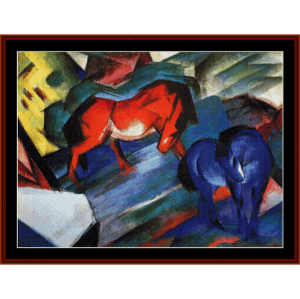 Red and Blue Horses - Franz Marc cross stitch pattern by Cross Stitch Collectibles | Crafting | Cross-Stitch | Wall Hangings