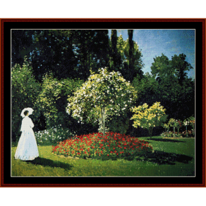 woman in garden - monet cross stitch pattern by cross stitch collectibles