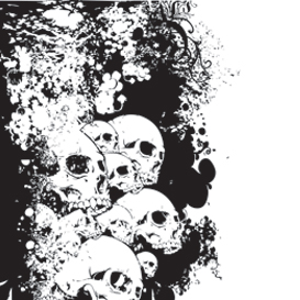 wall of skulls vector illustration