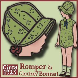 1920's romper & bonnet/cloche