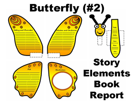 butterfly (2) story elements book report set