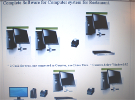 software for restaurant, counter, cook screens, drive thru screen, window 1 and window 2