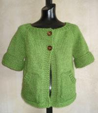 #73 women's top-down short-sleeved cardigan pdf knitting pattern from