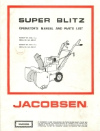 Jacobsen Super Blitz Snow Blower Operator's Manual | Other Files | Documents and Forms