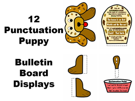 12 punctuation puppies display set