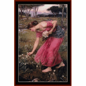narcissus - waterhouse cross stitch pattern by cross stitch collectibles